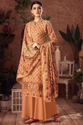 Cantaloupe Color Salwar Kameez In Pure Wool Pashmina Fabric