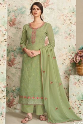 Capricious Sea Green Real Georgette Plazzo Suit For Festive Wear