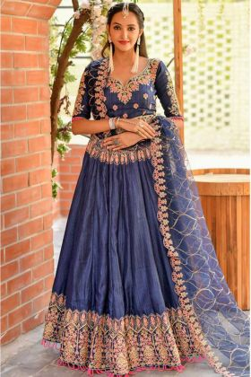 Carbon Blue Color Heavy Embroidered Bridal Chennai Silk Lehenga Choli