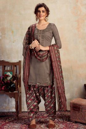 Casual Pure Jam Cotton Patiala Dress In Grey