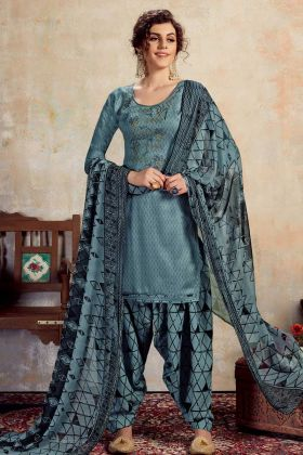 Casual Pure Jam Cotton Punjabi Suit In Steel Blue