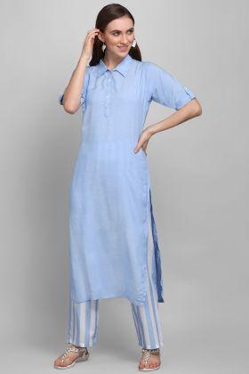 Casual Wear Blue Color Printed Readymade Tunic Kurti