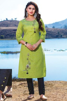 Casual Wear Green Readymade Kurti With Bottom