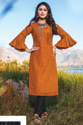 Casual Wear Orange Readymade Kurti With Bottom