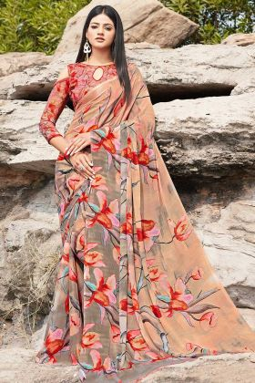 Casual Beige And Grey Color Chiffon Saree