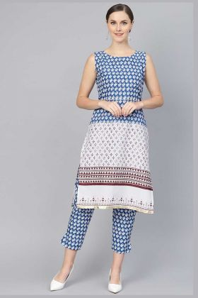 Casual Cotton Fabric Blue White Kurti With Pant