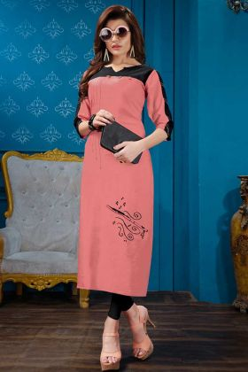Casual Designer Peach Cotton Flex Fancy Kurti