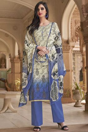 Casual Salwar Kameez Off White And Blue In Printed Work