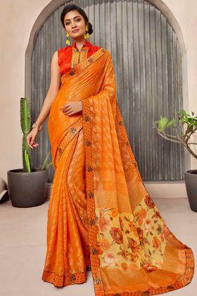Casual Saree Chiffon Fabrix With Orange Color