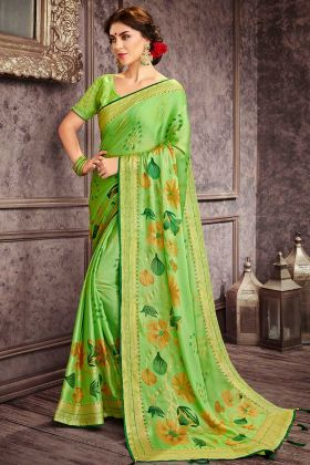 Casual Wear Chiffon  Saree With Parrot Green Color