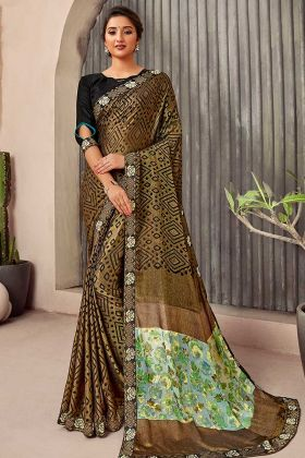 Casual Wear Golden Printed Ladies Saree