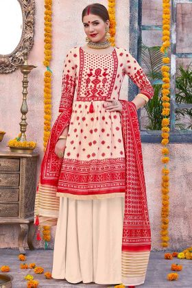 Casual Wear Palazzo Linen Cream And Red Color