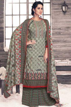 Casual Wear Pure Pashmina Designer Palazzo Salwar Kameez Grey Color