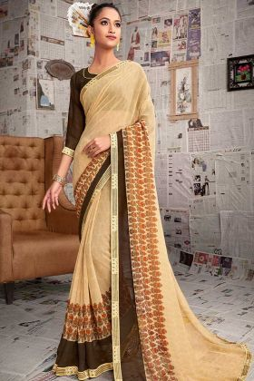 Casual Wear Saree With Cream Color Georgette Fabric