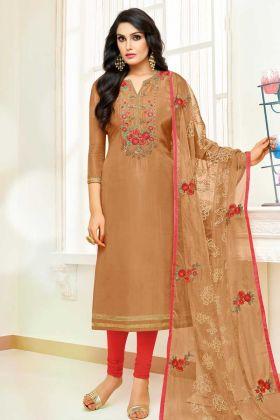 Casual Wear Upada Silk Salwar Suit Mustard Color With Dupatta