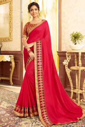 Chanderi Silk Dark Pink Plain Saree With Heavy Border