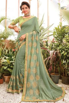 Chanderi Silk Laurel Green Color Embroidered Saree