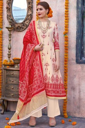 Chanderi Dupatta With Linen Fabric Designer Suit