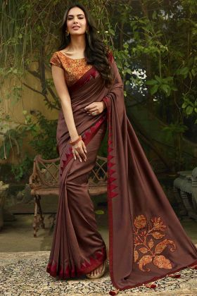 Chanderi Embroidery Saree In Brown Color