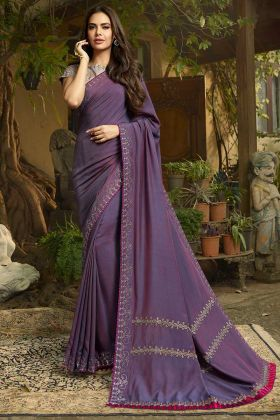 Chanderi Embroidery Saree Light Purple Color