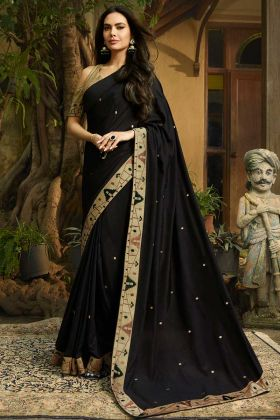 Chanderi Festival Saree Printed Work Black Color