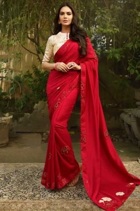 Chanderi Festival Saree Red Color With Printed Work