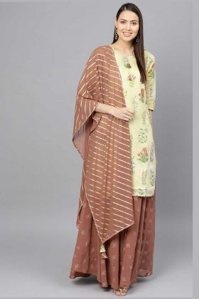 Chanderi Light Yellow Color With Brown Palazzo