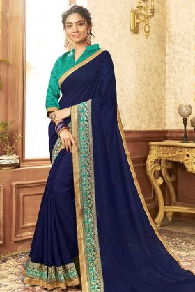 Chanderi Silk Festival Saree In Blue Color