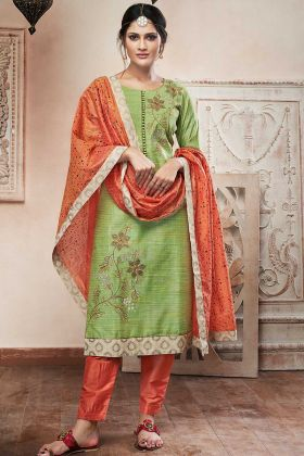 Chanderi Silk Pant Style Dress Resham Embroidery Work In Green Color