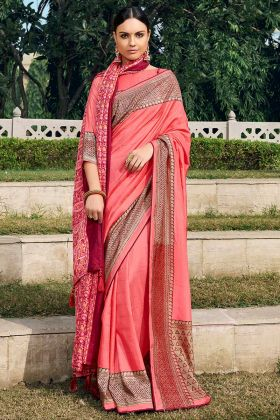 Chanderi Silk Pink Color Printed New Model Saree With Fancy Shawl
