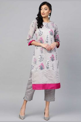 Chanderi Silk Printed Pair Kurta And Pant In Grey Color