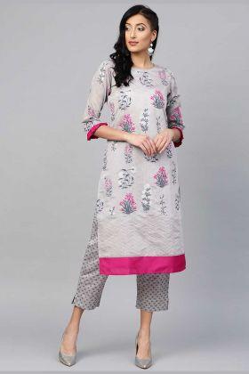 Chanderi Silk Printed Pair Kurta And Pant In Grey Color