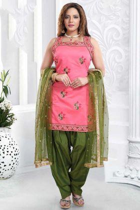 Chanderi Silk Resham Work Pink Punjabi Salwar Suit
