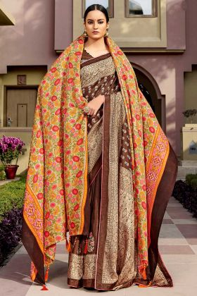 Chanderi Silk Women Saree With Brown Color