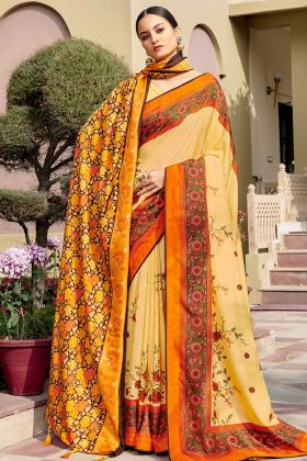 Chanderi Silk Yellow Printed Sarees For Women