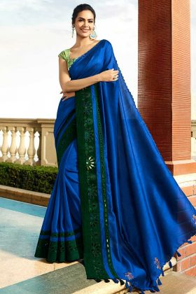 Chanderi Wedding Saree Embroidery Work In Blue Color