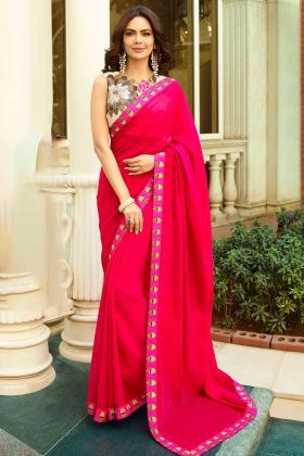 Chanderi Wedding Saree Pink Color With Printed Work