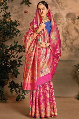 Charming Beautiful Art Silk Weaving Jacquard Pink Color Saree