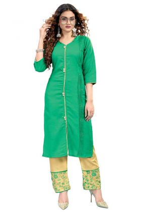 Charming Fancy Ruby Cotton Kurti Pant In Turquiose Color