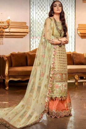 Charming Faux Georgette Embroidered Pista Color Pakistani Style Salwar Suit Collection