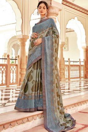 Charming Floral Design Teal Blue Brasso Silk Saree