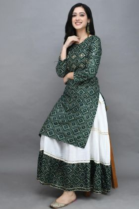 Charming Green Rayon Cotton Stitched Kurti Sharara
