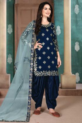 Charming Heavy Embroidered Blue Color Panjabi Salwar Dress