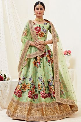 Charming Pista Color Banglori Satin Lehenga Choli For Function