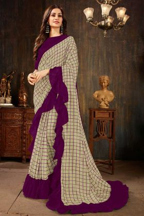 Charming Printed Soft Art Silk Ruffle Saree In Grey Color