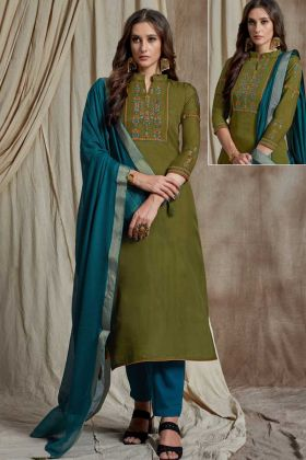 Charming Soft Silk Designer Straight Suit Resham Embroidery In Olive Green Color