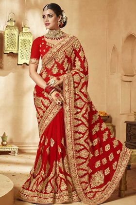 Chauth Puja Embroidered Georgette Red Saree