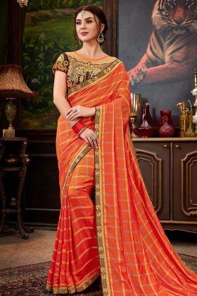 Checks Silk Fanta Designer Saree