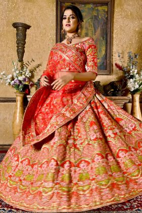 Chennai Silk Red Bridal Lehenga Choli