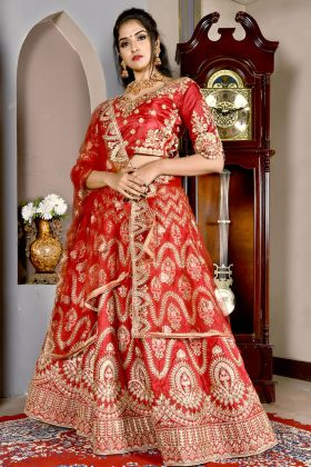 Chennai Silk Red Color Lehenga Choli Online